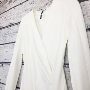White long sleeve wrap elegant cocktail dress S